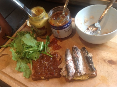 Judy's Loaves and Fishes Sandwich, with Pink Grapefruit Marmalade, sardines, arugula, stone-ground mustard, and mashed white beans with thyme.